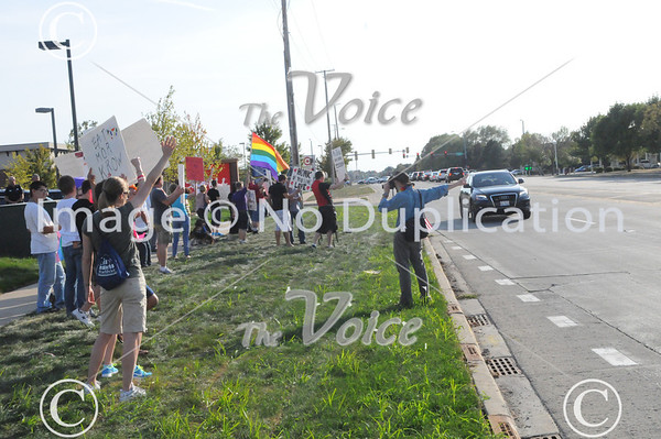 Marriage debate and protest in front of new Chick Fil-A restaurant in Oswego, IL 8-22-12