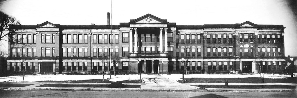 . Historic photo provided by Jim Smith <br> Lorain High School as it looked from 1916 to 1995.
