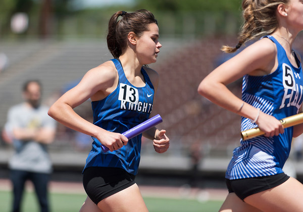 06/03/19 Wesley Bunnell   Staff The CIAC held their open track and field state open at Willow Brook Park on Monday afternoon. Southington's Jacqueline Izzo (13) during the girls 4x800 meter relay.