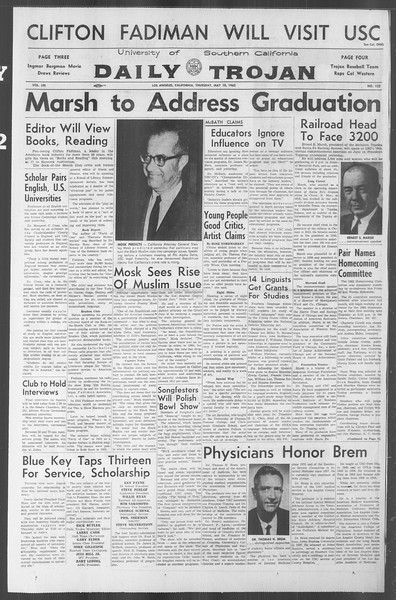 Daily Trojan, Vol. 53, No. 122, May 10, 1962