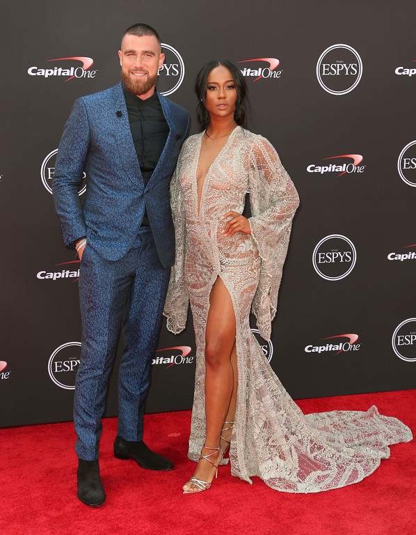. Kansas City Chiefs\' Travis Kelce, left, and Kayla Nicole arrive at the ESPY Awards at Microsoft Theater on Wednesday, July 18, 2018, in Los Angeles. (Photo by Willy Sanjuan/Invision/AP)