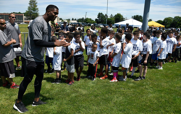 6/16/2018 Mike Orazzi | Staff Former St. Paul football player and New Britain native and current Dallas Cowboy Byron Jones at a New Britain football PAL clinic Saturday.