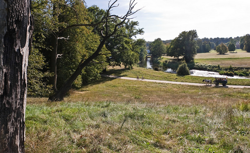 Muskau, Unterpark, Blick vom Pücklerstein Richtung Westen