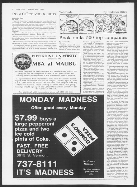 Daily Trojan, Vol. 100, No. 54, April 07, 1986