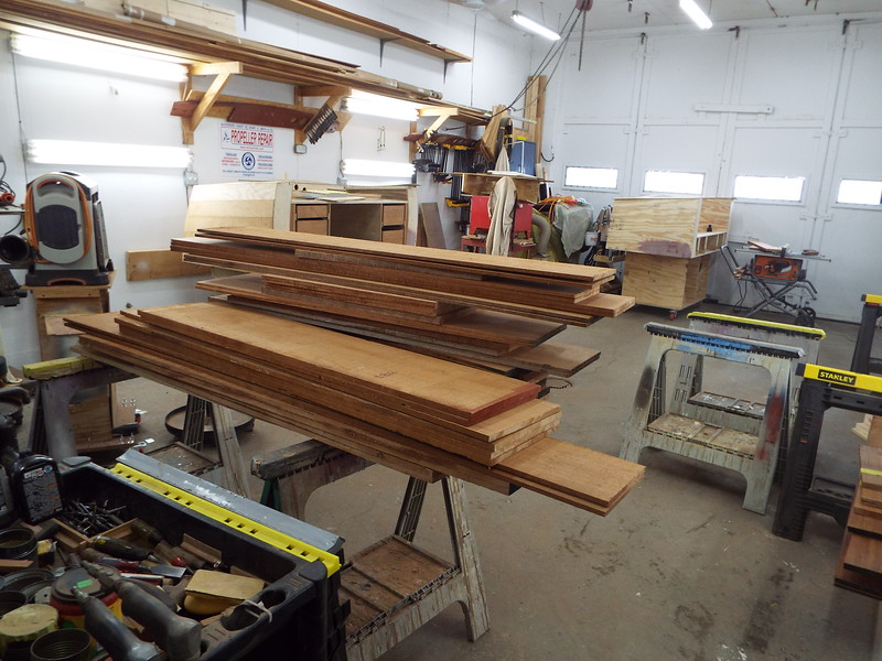 Mahogany skin cut to length and sorted for both the desk and the love seat.