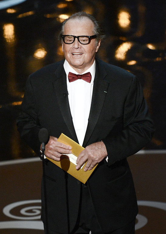 . Actor Jack Nicholson presents the Best Picture award onstage during the Oscars held at the Dolby Theatre on February 24, 2013 in Hollywood, California.  (Photo by Kevin Winter/Getty Images)