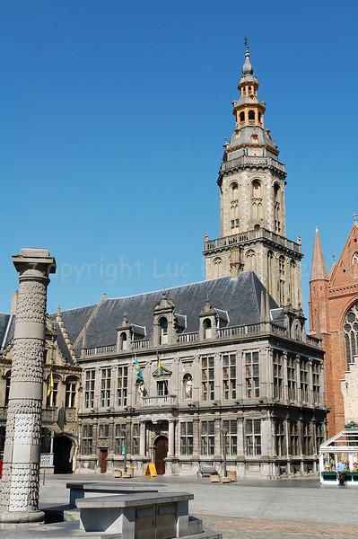 The Landhuis and Belfry in Veurne, Belgium.