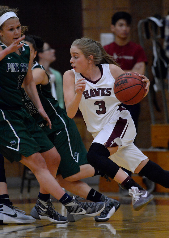 . THORNTON, CO - MARCH 01: Horizon Kylie Jimenez (3) drives on Pine Creek Jayne Lydiatt (11) during the second quarter in the Girls Class 5A Sweet 16 game March 1, 2016 at Horizon HS. (Photo By John Leyba/The Denver Post)