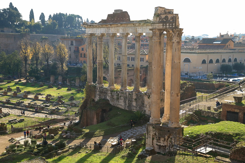 Ruins of the Temple of Saturn from about 497 BC - Roman Forum - Rome, Italy