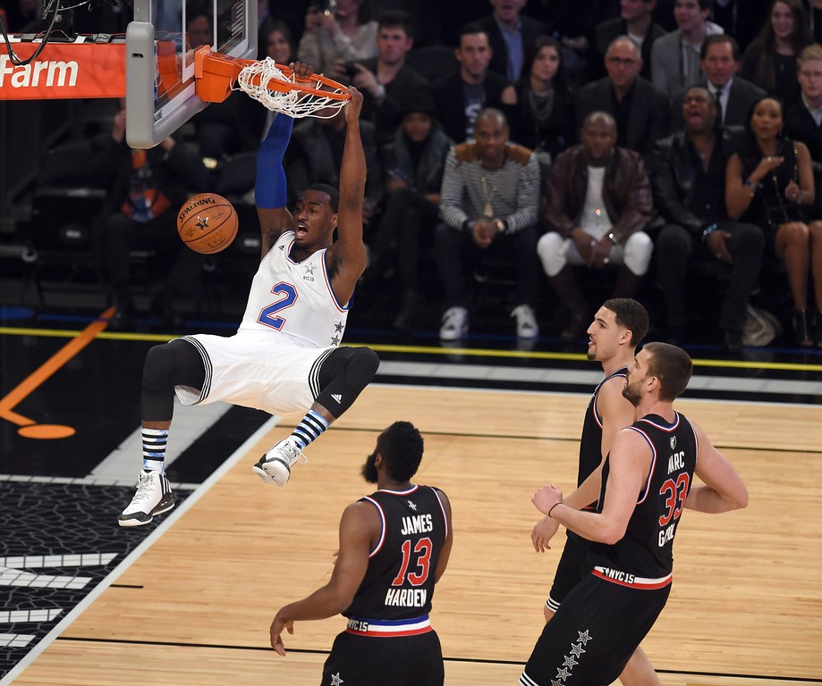 . East NBA All Star John Wall of the Washington Wizards scores during the 64th NBA All-Star Game at Madison Square Garden in New York  February 15, 2015.    AFP PHOTO /  TIMOTHY  A. CLARYTIMOTHY A. CLARY/AFP/Getty Images