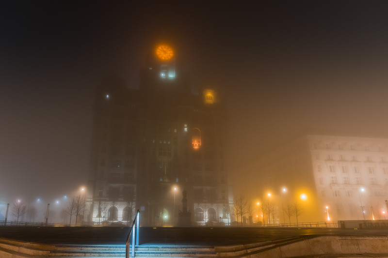 Royal Liver Building, Pier Head, Liverpool in the fog at night