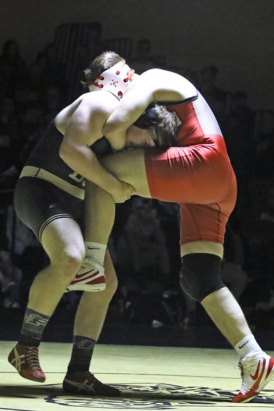 Billy Borowsky from Point Pleasant Boro battles with Noah Ramos during the 285 lb bout during a varsity wrestling match held on Friday Jan. 18, 2019. (MARK R. SULLIVAN/THE OCEAN STAR)