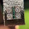 Art Deco Diamond and Emerald Disc Earrings 23