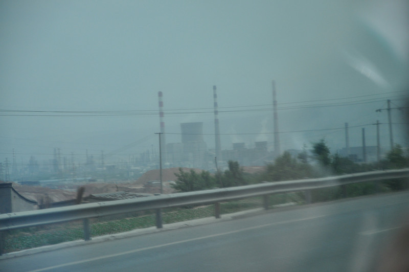 The outskirts of Lanzhou, which is a heavily industrial city and therefore produces a lot of air pollution from factories such as this.