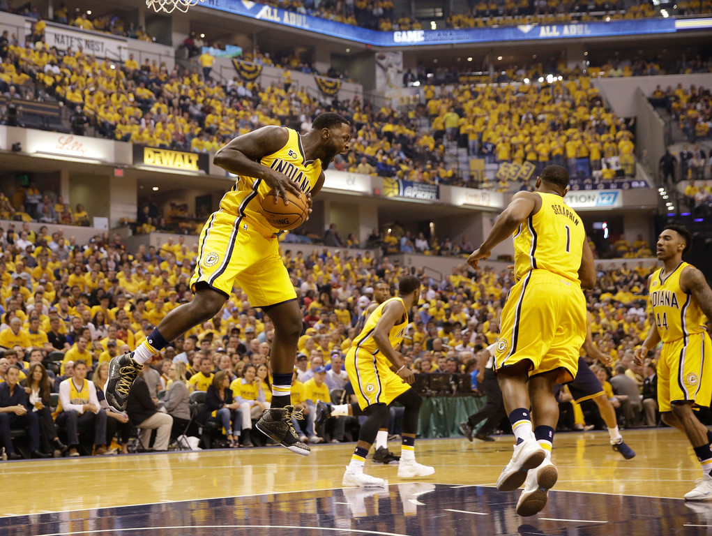 . Indiana Pacers\' Lance Stephenson grabs a rebound during the first half in Game 3 of a first-round NBA basketball playoff series against the Cleveland Cavaliers, Thursday, April 20, 2017, in Indianapolis. (AP Photo/Michael Conroy)