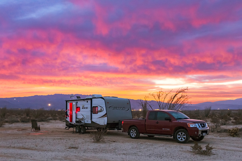 Camping Under A Colorful Sunset In The Anza-Borrego Desert