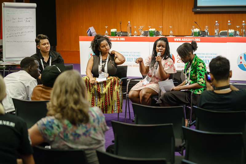 22nd International AIDS Conference (AIDS 2018) Amsterdam, Netherlands.   Copyright: Matthijs Immink/IAS  Young people at the centre: Community mobilization for youth-friendly HIV services  On the photo: Tung Doan Thanh L'Orangelis Thomas Negron Mercy Ngulube  Grace Ngulube