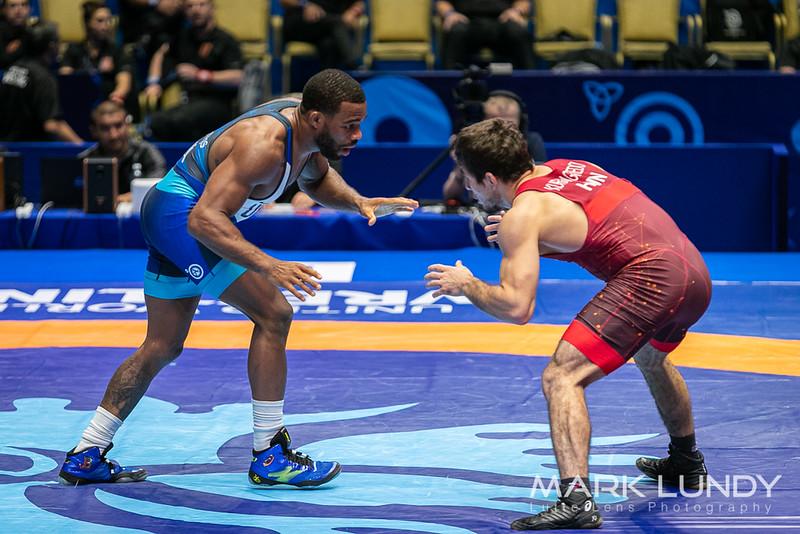 Champ. Round 3: Jordan Ernest Burroughs (United States) over Murad Kuramagomedov (Hungary)  •  Dec 6-4 - 2019 World Championships