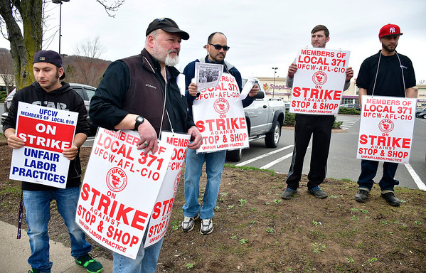 4/11/2019 Mike Orazzi | Staff Striking Stop & Shop workers at the grocery store on Route 6 in Bristol on Thursday.