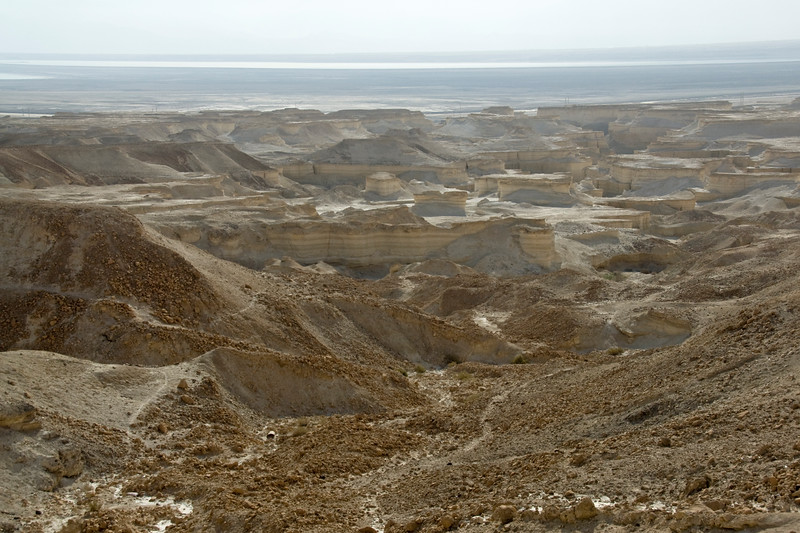 View of eroded land and Dead Sea from Masada in Israel