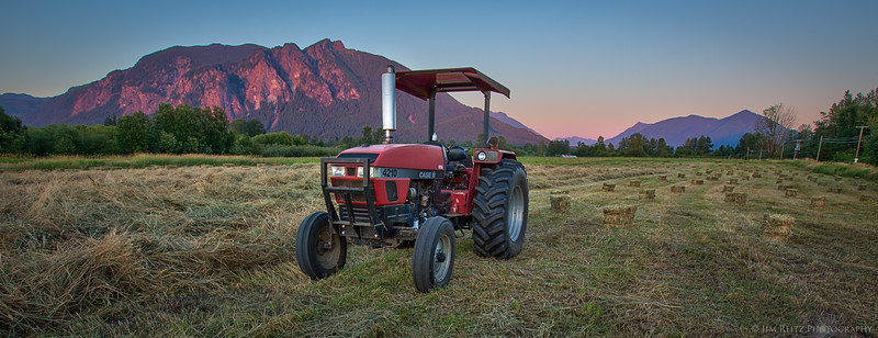 Red tractor, red mountain.