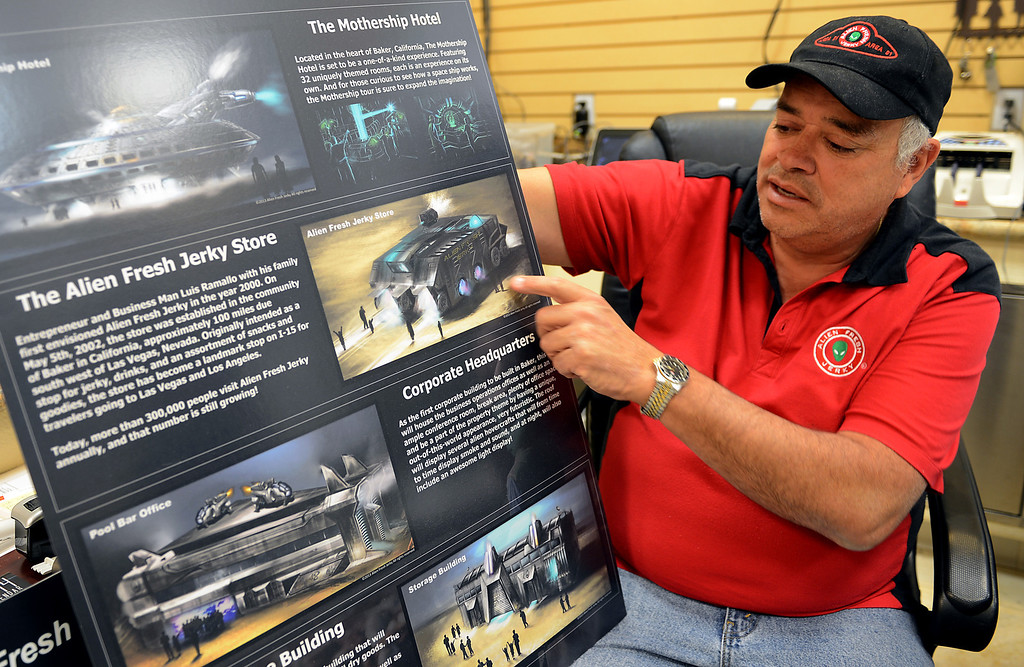. Businessman Luis Ramallo shows the planned development at Alien Fresh Jerky in Baker, CA, Thursday, April 3, 2014. Ramallo is planning to build a UFO shaped hotel behind the popular Alien Fresh Jerky store. (Photo by Jennifer Cappuccio Maher/Inland Valley Daily Bulletin)