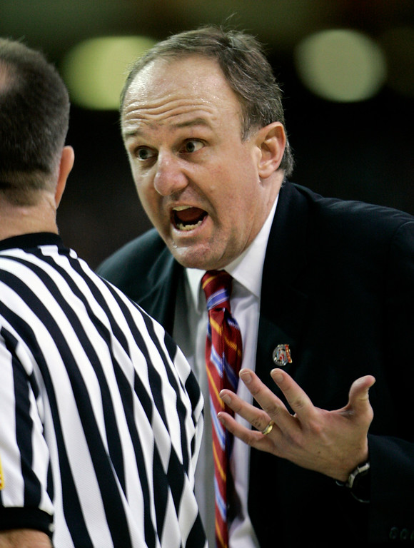 . Ohio State coach Thad Matta talks to an official in the second half during their men\'s semifinal basketball game against Georgetown at the Final Four in the Georgia Dome in Atlanta Saturday, March 31, 2007. (AP Photo/Gerry Broome)