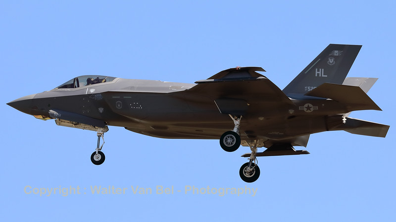 """A USAF F-35A Lightning II (17-5251; cnAF-193) is seen here on final for RWY05 at ETAD. The F-35A's from 388th FW / 421st FS """"Black Widows"""" and the 419th FW / 466 FS, based at Hill AFB (Utah) have been deployed to Europe as a """"Theater Security Package""""."""
