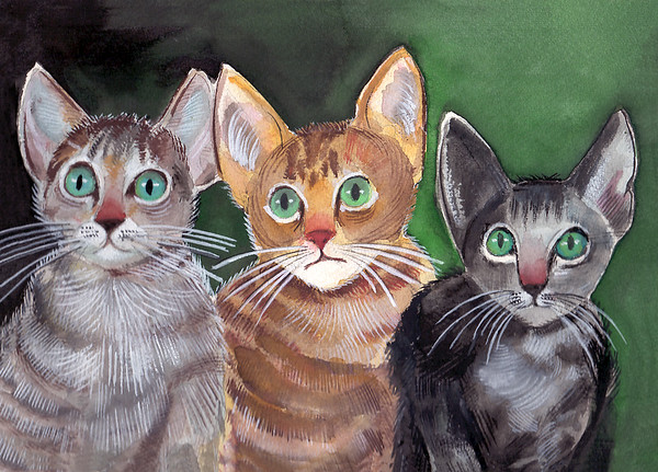 Dad's Cats Watercolor by Gene