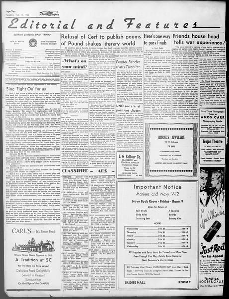 Daily Trojan, Vol. 37, No. 74, February 19, 1946