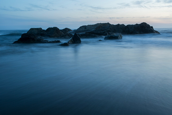 Night shot of the sea stacks