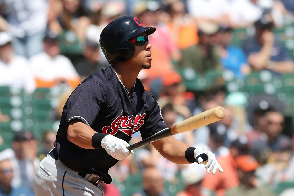 . Cleveland Indians\' Michael Brantley watches his solo home run clear the right field wall during the fifth inning of a baseball game against the Detroit Tigers, Wednesday, May 16, 2018, in Detroit. (AP Photo/Carlos Osorio)