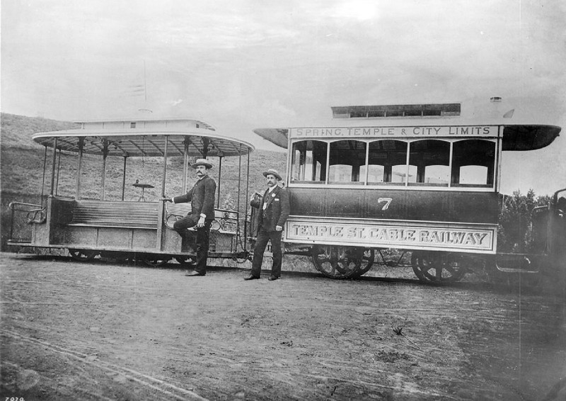 Temple Street Cable Railway car with its trailer at the juncture of Temple Street and Hoover Street, ca.1889