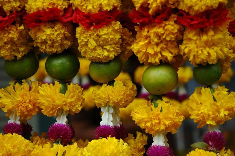 Limes and Carnations at Hindu Temple- Bangkok, Thailand