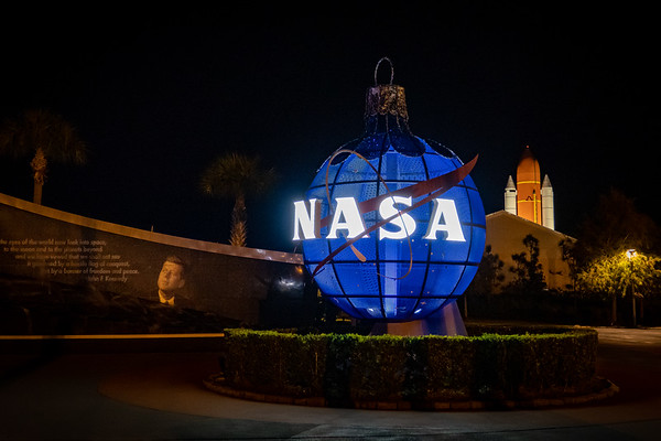 Kennedy Space Center Visitor Complex Grand Plaza at Night