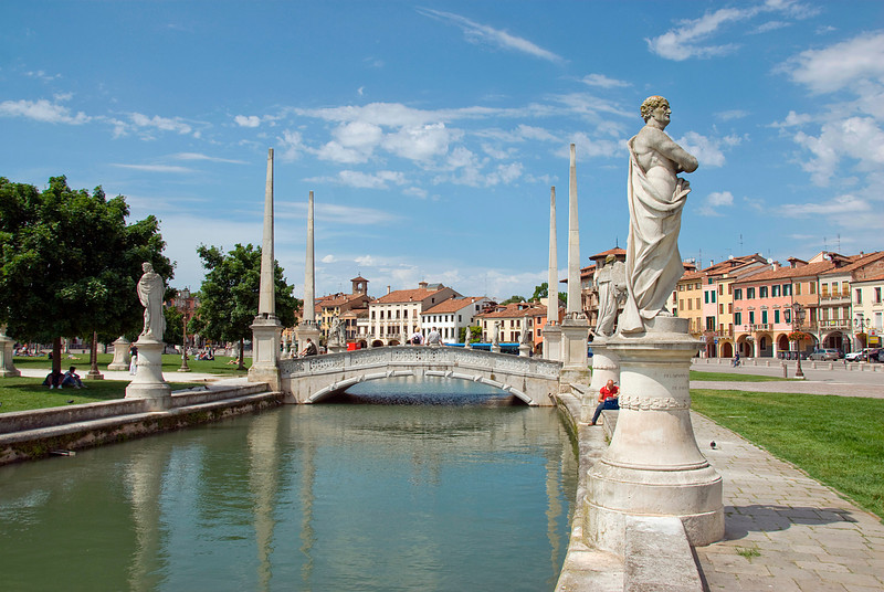 Sculptures and bridge at Prato della Valle in Padua, Italy