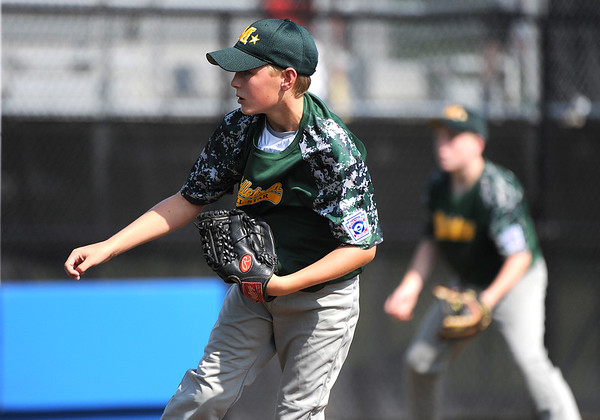 8/6/2018 Mike Orazzi | Staff Middletown New Jersey Little League's James Finer (10) during a win over the Berlin, Maryland Team at Breen Field in Bristol during the 2018 Little League Eastern Regional Tournament.