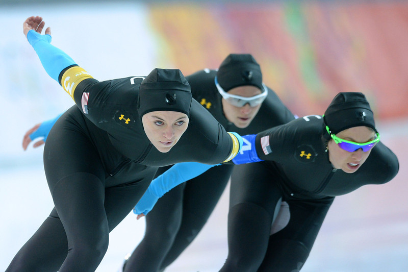 . (From L) US Heather Richardson, US Jilleanne Rookard and US Brittany Bowe compete in the Women\'s Speed Skating Team Pursuit Quarterfinals at the Adler Arena during the Sochi Winter Olympics on February 21, 2014. (JUNG YEON-JE/AFP/Getty Images)