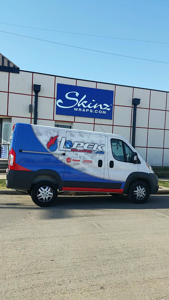 Dodge Promaster with custom designed wrap for Lopek Heating & Air, Dallas, TX