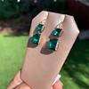 Georgian Double Drop Emerald Paste Earrings 20