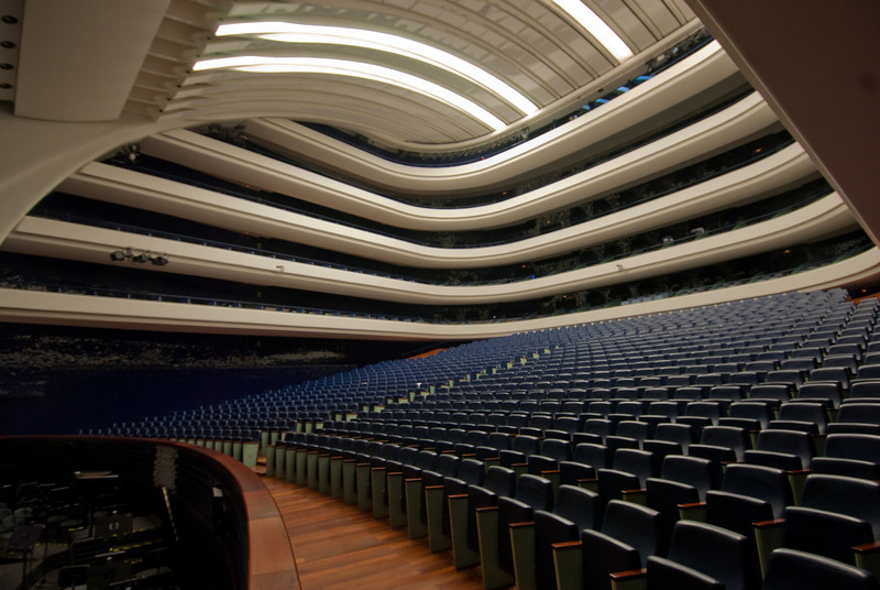 Inside the Palau de les Arts Reina Sofia opera house in Valencia, Spain