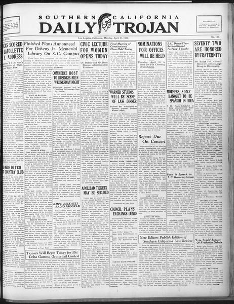 Daily Trojan, Vol. 22, No. 130, April 27, 1931