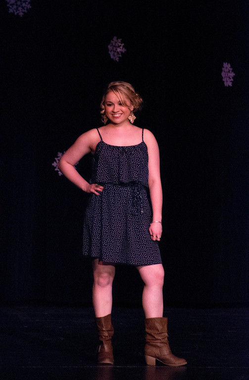 . Kayla Rice/Reformer Kara Walsh poses on the runway during the 2014 Brattleboro Winter Carnival\'s Queen\'s Pageant on Friday night.