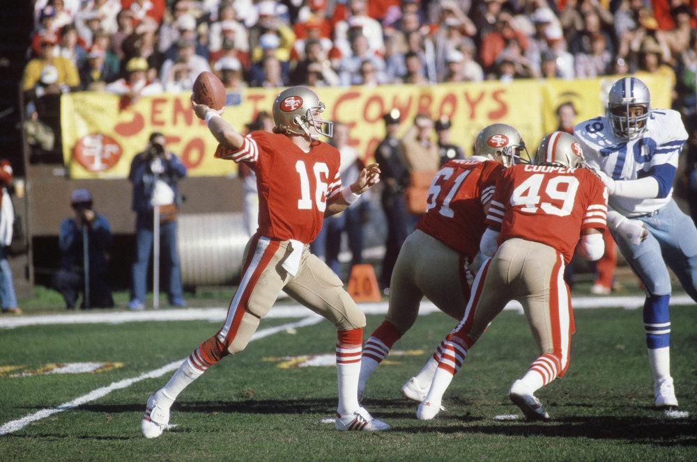 Description of . Joe Montana, San Francisco 49ers quarterback in action 4th quarter of the Superbowl, Jan. 22, 1989 in Miami. (AP Photo)