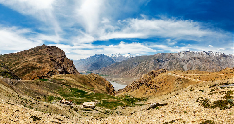 Panorama of Spiti valley in Himalayas