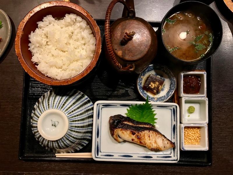 Gindara teishoku, or the grilled shoyu and sake lees-marinated black cod set meal.