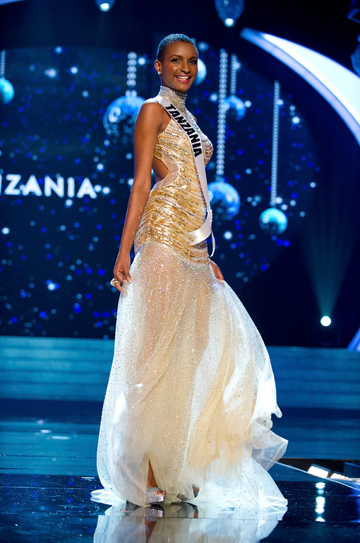 . Miss Tanzania 2012 Winfrida Dominic competes in an evening gown of her choice during the Evening Gown Competition of the 2012 Miss Universe Presentation Show in Las Vegas, Nevada, December 13, 2012. The Miss Universe 2012 pageant will be held on December 19 at the Planet Hollywood Resort and Casino in Las Vegas. REUTERS/Darren Decker/Miss Universe Organization L.P/Handout
