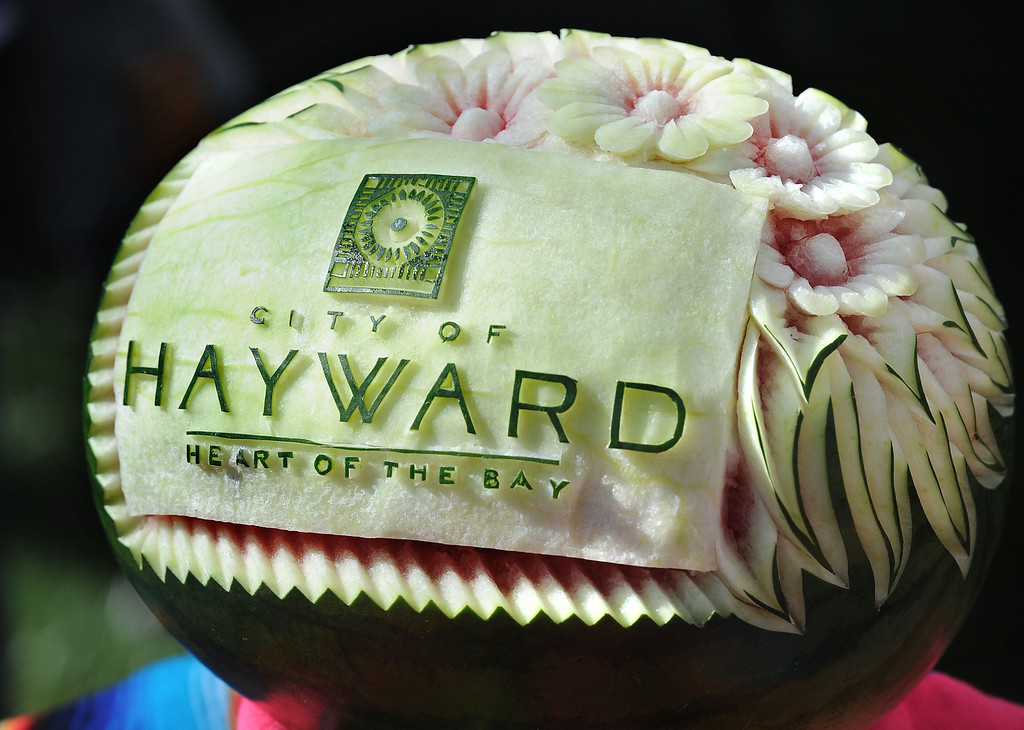". A decorated watermelon on distplay on the City of Haywards table during the ""Alameda County Mayors\' Healthy Cook-Off Challenge\"" held at the Dublin Farmers\' Market at Emerald Glen Park in Dublin, Calif., on Thursday, July 25, 2013. The Hayward team, consisting of Hayward Mayor Pro Tem Mark Salinas and Chef Tony Solorio with the Hayward\'s Tacos Uruapan restaurant, went on to place second, advancing them to compete against the winners of the Contra Cost County Mayors\' Healthy Cook-Off Challenge. The contest will be held at Mt. Diablo High School in the fall. The cook-off was presented by Concord\'s Wellness City Challenge and promotes the importance of healthy eating. (Doug Duran/Bay Area News Group)"