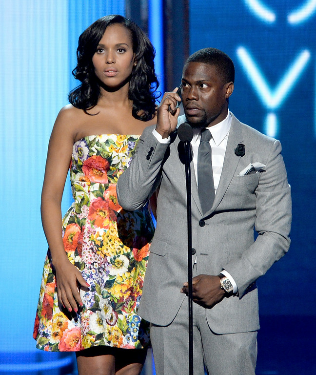 . Actors Kerry Washington (L) and Kevin Hart speak onstage during the BET AWARDS \'14 at Nokia Theatre L.A. LIVE on June 29, 2014 in Los Angeles, California.  (Photo by Kevin Winter/Getty Images for BET)