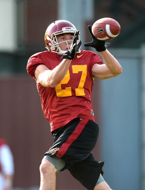 . USC WR David Mellstrom catches a pass during practice, Tuesday, March 25, 2014, at USC. (Photo by Michael Owen Baker/L.A. Daily News)